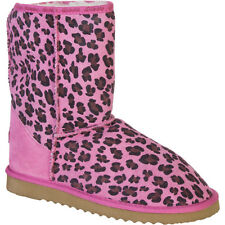 New UKALA SYDNEY ALLY PINK ROSE LEOPARD SUEDE WOOL LINED LOW BOOTS