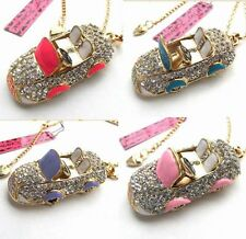 Betsey Johnson shiny crystal/enamel Compact car pendant Necklace 4 color#216L