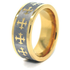 8mm Gold Plated Tungsten Carbide Gothic Crosses Wedding Band (Unisex Sizes 5-15)