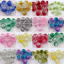 50/100PCS Round Clear Crackle Art Crystal Glass Charm Bead Jewelry Finding 6mm