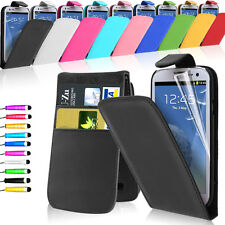 LEATHER NEW FLIP CASE COVER WALLET FOR SAMSUNG GALAXY S3 I9300 FREE Short Stylus