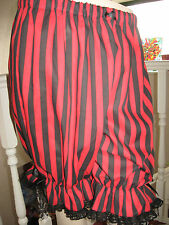 NEW Gothic Rock Pirate Black Red striped lace Sissy Long Bloomers Pantaloons