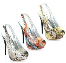 Qupid Bone Orange Yellow Peep toe Pump High Heel Snake Slingback Women's Shoes