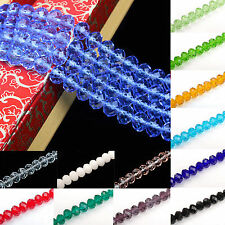 20-100 Rondelle Faceted Crystal Glass Loose Spacer Bead Charm Making 4/6/8/10mm