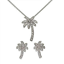 Palm Tree Necklace and Stud Earring Set