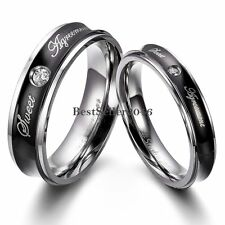 """"""" Sweet Agreement """" Couples Engagement Ring Concave Stainless Steel Wedding Band"""