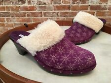 Isaac Mizrahi Oak Purple Suede Embroidered Daisy Shearling Mules New
