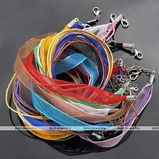 10x Organza Voile String Ribbon Cord Necklace Lobster Clasp Jewelry Finding Lots