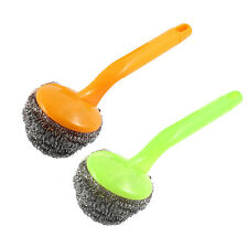 2 Pcs Kitchen Plastic Grip Bowl Pot Cleaning Steel Wire Ball Scourer Brush
