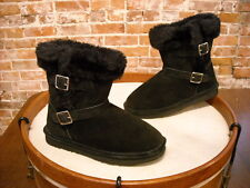LAMO Black Suede Ankle Strap Faux Fur Cresson Pull on Boots NEW