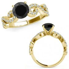 1 Ct Black Diamond Infinity Solitaire Anniversar​y Bridal Ring 14K Yellow Gold