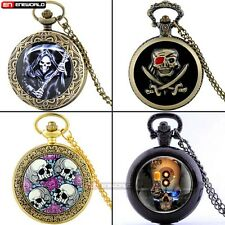 Steampunk Skull Quartz Pocket Watch Mens Antique Necklace Chain Pendant Vintage