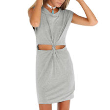 Ladies Pullover Sleeveless Round Neck Cut Out Front Tie Front Unlined Dress