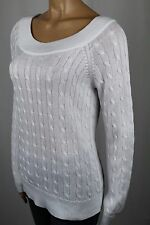 Ralph Lauren White Scoop Round Neck Cable Knit Sweater NWT