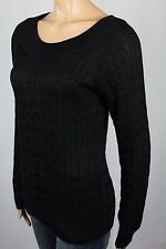 Ralph Lauren Black Scoop Round Neck Cable Knit Sweater NWT