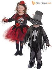 Boys Girls Day of The Dead Skeleton Fancy Dress Costume Kids Children Halloween