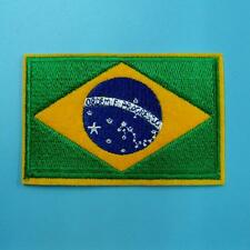 1 Brazil Flag South America Iron on Sew Embroidered Biker Patch Badge Applique