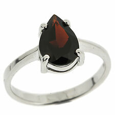 925 Sterling Silver 2.0ct Natural Red Garnet Classic Elegant Ring Size 7 US