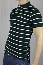 Polo Ralph Lauren Green Navy Striped Custom Fit Mesh Shirt Orange Pony NWT
