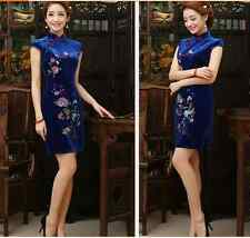 hot!pleuche short sleeves traditional Chinoiserie dress Charming lady skirt