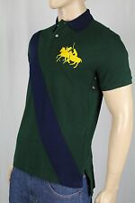 Polo Ralph Lauren Green Navy Custom Fit Mesh Shirt Gold Pony Match NWT