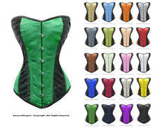 Double Steel Boned Waist Training Satin Overbust Shaper Corset #8381-B-DB(SA)