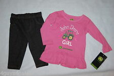 Baby Toddler Girls L/S Outfit JOHN DEERE GIRL Tractor PINK GLITTER  6 9 24 MO