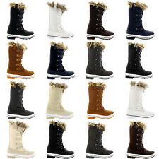 Ladies Tall Fur Cuff Lace Up Shoes Rubber Snow Sole Winter Rain Boots All Sizes