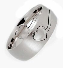 8mm Laser Cut Heart Puzzle Ring Surgical Stainless Steel 316L