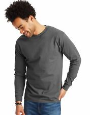 2 Hanes Adult Beefy-T Long-Sleeve T-Shirts 5186
