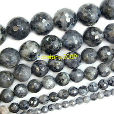 "4/6/8/10/12/14mm Natural Faceted Black Labradorite Round Loose Beads 15"" Choose"