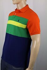 Polo Ralph Lauren Orange Navy Green Striped Custom Fit Mesh Shirt NWT