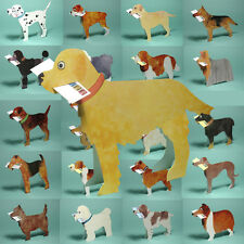 6 Dog 3D Greetings Cards with Message in a Miniature Envelope by Courtier