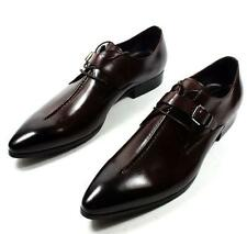 Mens Monk Strap Loafers cow leather Metal Buckle Slip On Casual Dress Shoes New