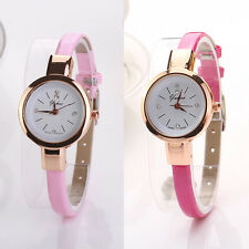Fashion Women Ladies PU Leather Round Quartz Analog Bracelet Wristwatch Watch