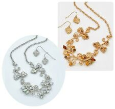 Crystal Necklace Set Crystal Silver or Gold Bridesmaid Jewelry New Boxed