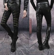 Cool Motorcycle pu Leather Punk Zipper Buckle Strap mens  Pants Trousers 3 color