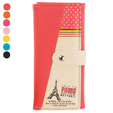 Fashion Women's Eiffel Tower Purse Clutch Button Wallet Bag Handbag Card Holder