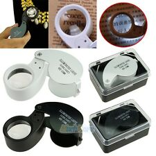 40x 25 mm Glass Magnifying Magnifier Jeweler Eye Jewelry Loupe Loop W/ LED Light