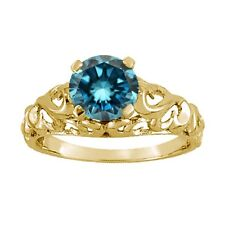 1 Ct Blue Diamond Fancy Design Solitaire Victorian Bridal Ring 14K Yellow Gold