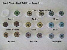 9 PAIR Oval Plastic DOLL EYES 7mm IRIS Doll Puppet Jewelry Design, Carving (A-1)