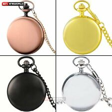 Fashion Smooth Quartz Vintage Pocket Watch Chain Necklace Pendant Gift Retro UK