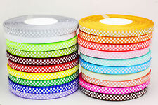 "Hot Style 5YDS 3/8""(10mm) Printed GRID Grosgrain Ribbon Ribbon Craft Bows Pick"