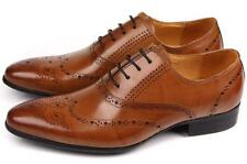 Vintage Mens Brogue Oxfords leather Wing Tip Lace Up Dress casual  Shoes