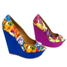 LADIES PINK OR BLUE FLORAL PLATFORM SUMMER SANDAL PEEP-TOE WEDGE SHOES SIZES 3-8