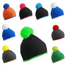 Beanie Ski Cap Winter Knit Wool Caps Striped With Contrast Multicolour