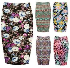 Womens Paisely Printed Jersey Midi Skirt Ladies Floral Aztec Tube Skirt Plus8-14