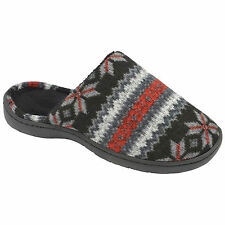 MENS DUNLOP FAIR ISLE KNITTED CASUAL SLIP ON MULE CASUAL SLIPPERS SANDALS SHOE