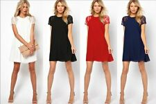Summer Short Mini Dress Sexy Womens Patchwork Short Sleeve Lace Chiffon Party