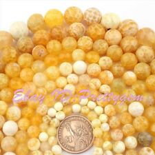 """4-16mm Round Faceted Cracked Yellow Fire Agate Gemstone Spacer Loose Beads 15"""""""
